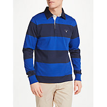 Buy GANT Rugger Bar Stripe Heavy Jersey Top, Blue Online at johnlewis.com
