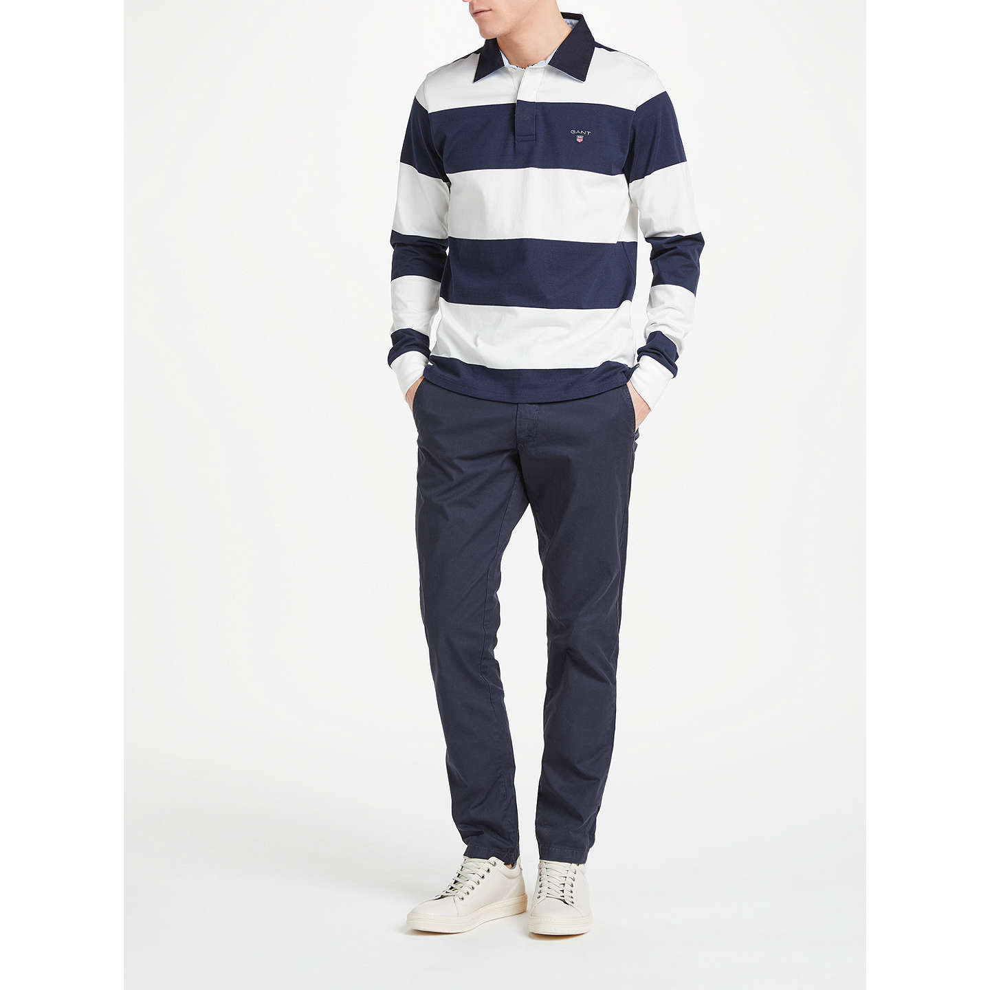 BuyGANT Rugger Bar Stripe Heavy Jersey Rugby Shirt, White/Navy, S Online at johnlewis.com