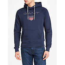 Buy GANT Shield Embroidered Hoodie, Navy Online at johnlewis.com