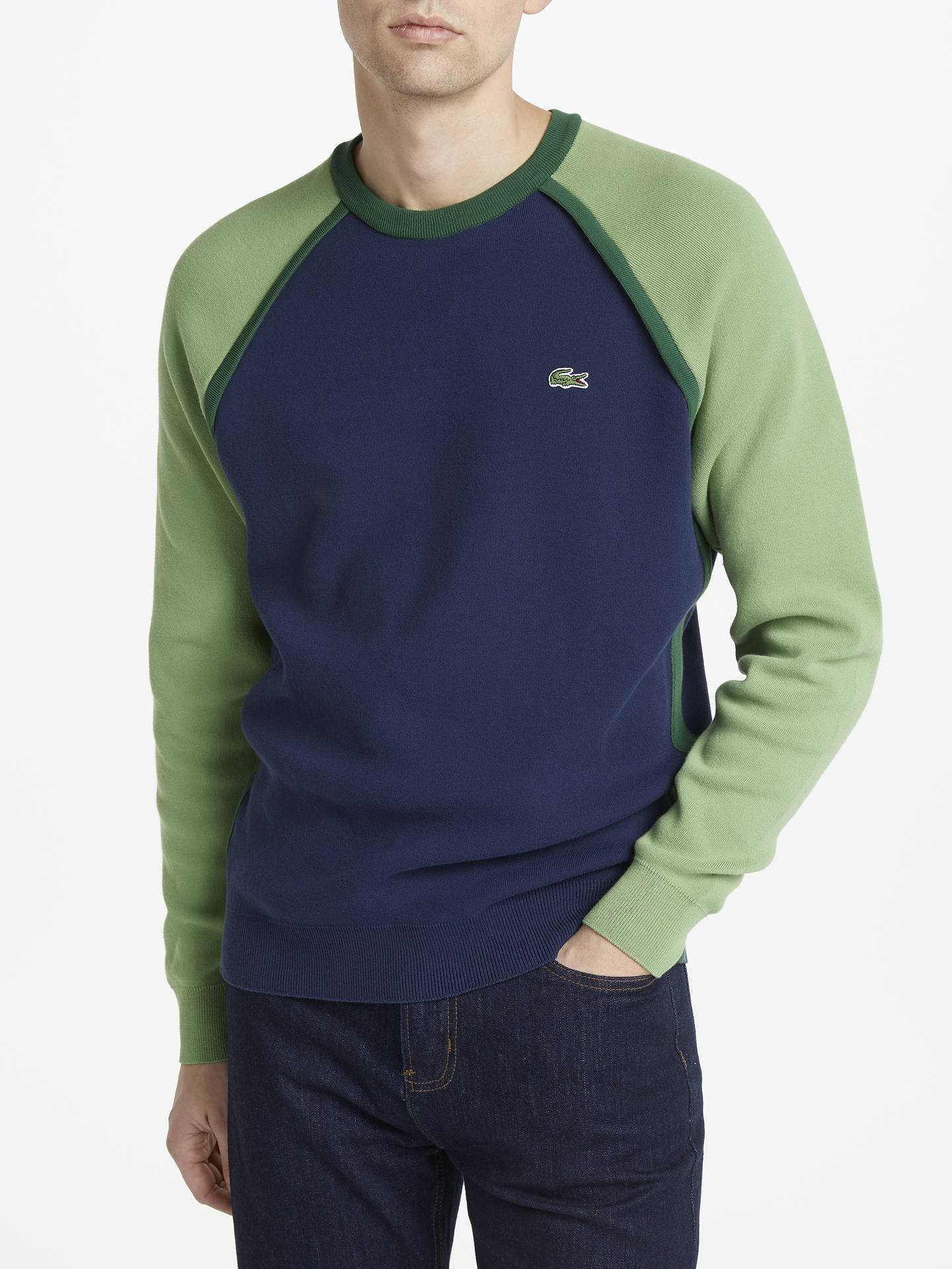 newest style best value new style Lacoste Made In France Colour Block Jumper, Navy/Green at ...