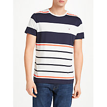 Buy Gant Multistripe Print Cotton T-Shirt, Eggshell/Blue/Orange Online at johnlewis.com