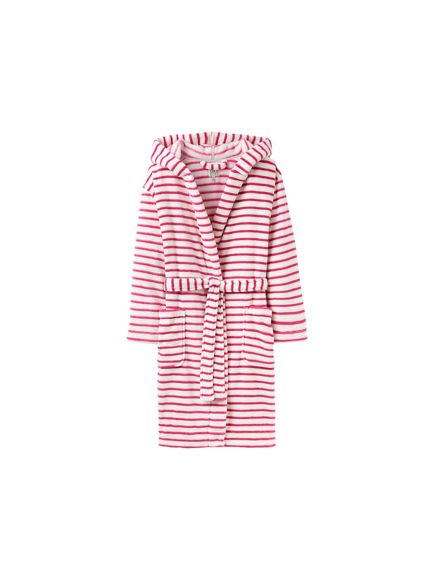 Joules Rita Stripe Fleece Dressing Gown Ivorypink At John Lewis
