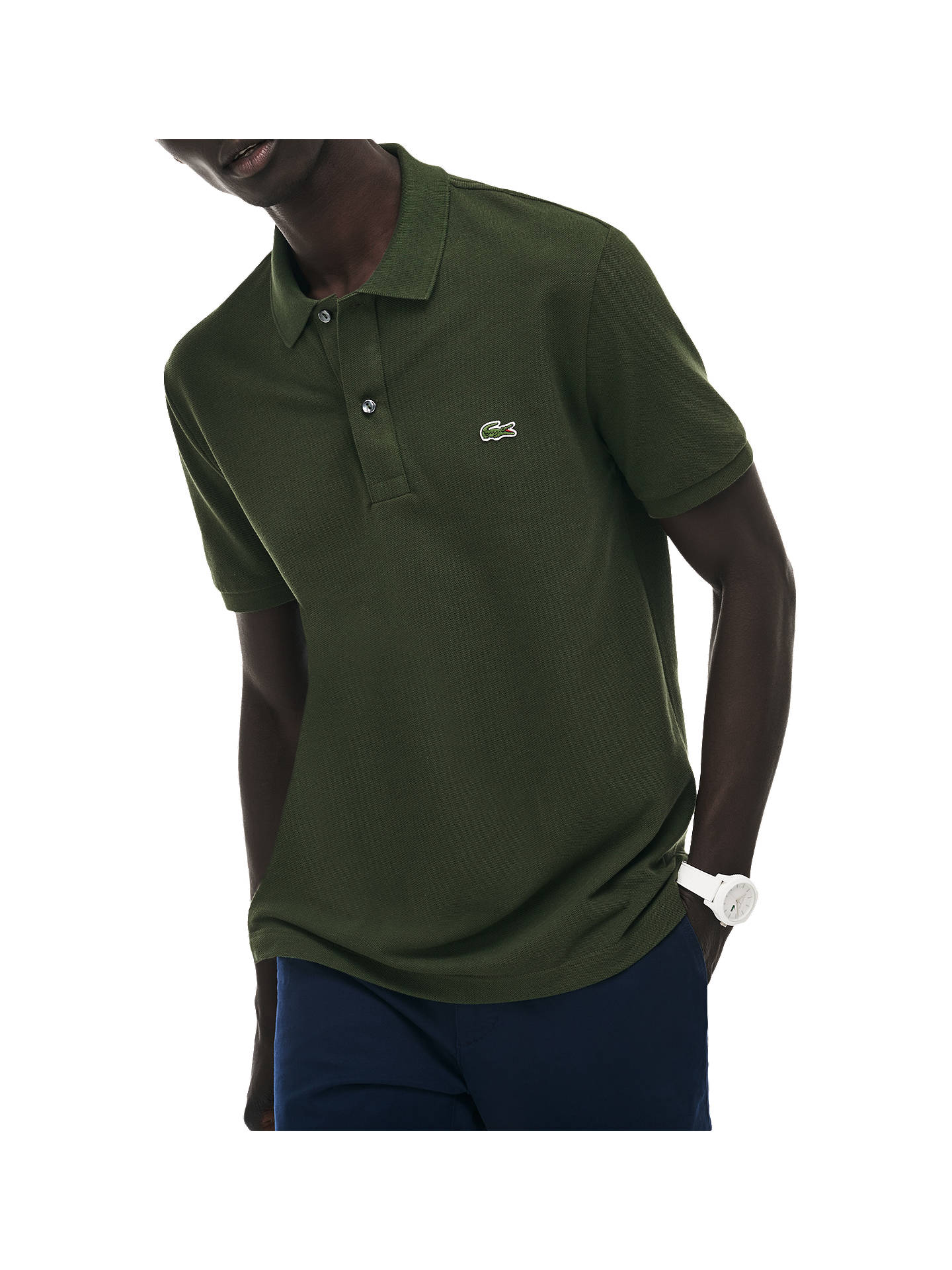 78f84bfd56 Buy Lacoste Classic Slim Fit Short Sleeve Polo Shirt, Army Green, S Online  at ...