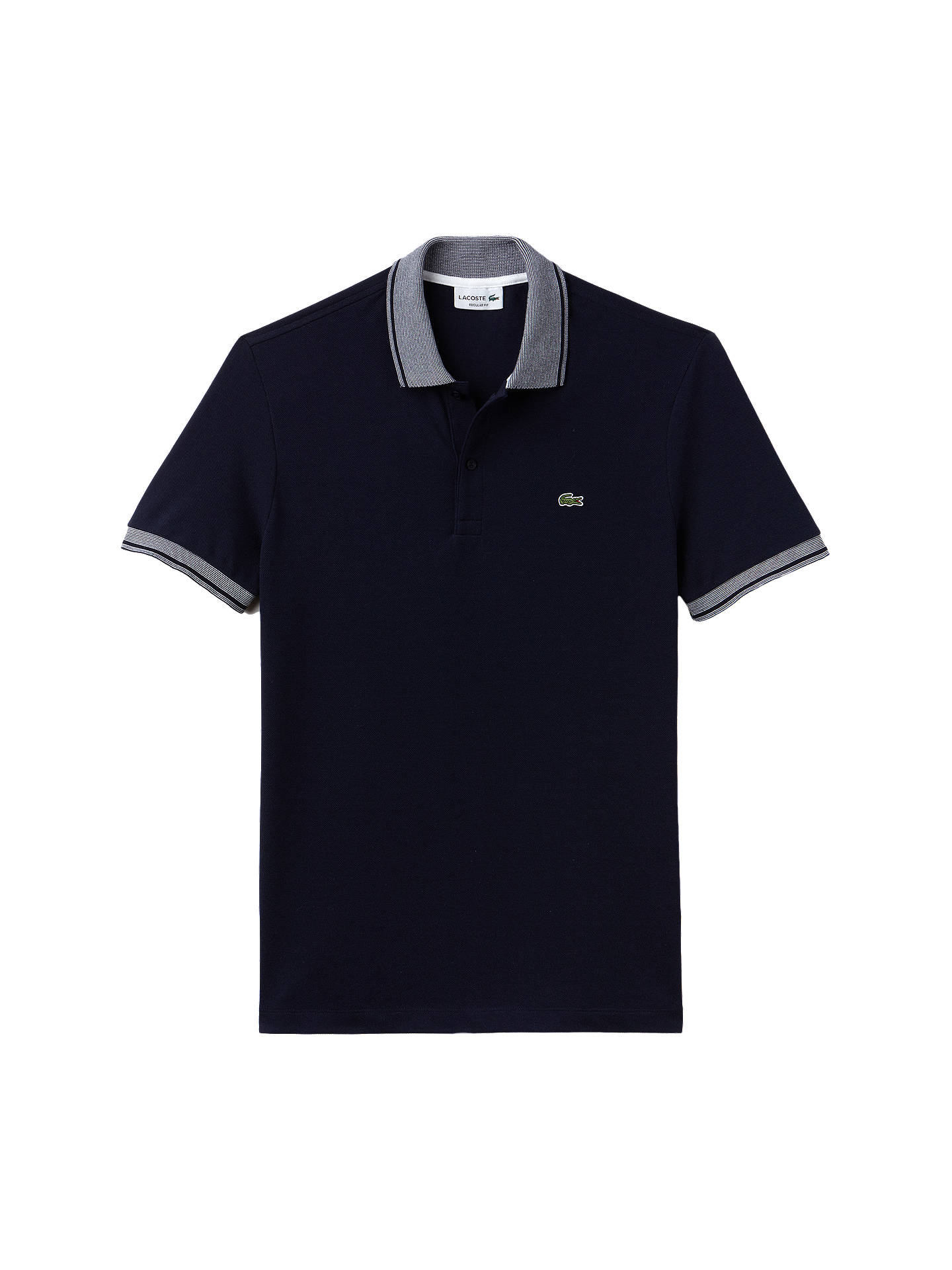 BuyLacoste Regular Fit Woven Collar Short Sleeve Polo Shirt, Navy/White, SS Online at johnlewis.com