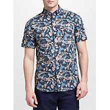 Buy GANT Short Sleeve Leaf Print Shirt, Navy Online at johnlewis.com