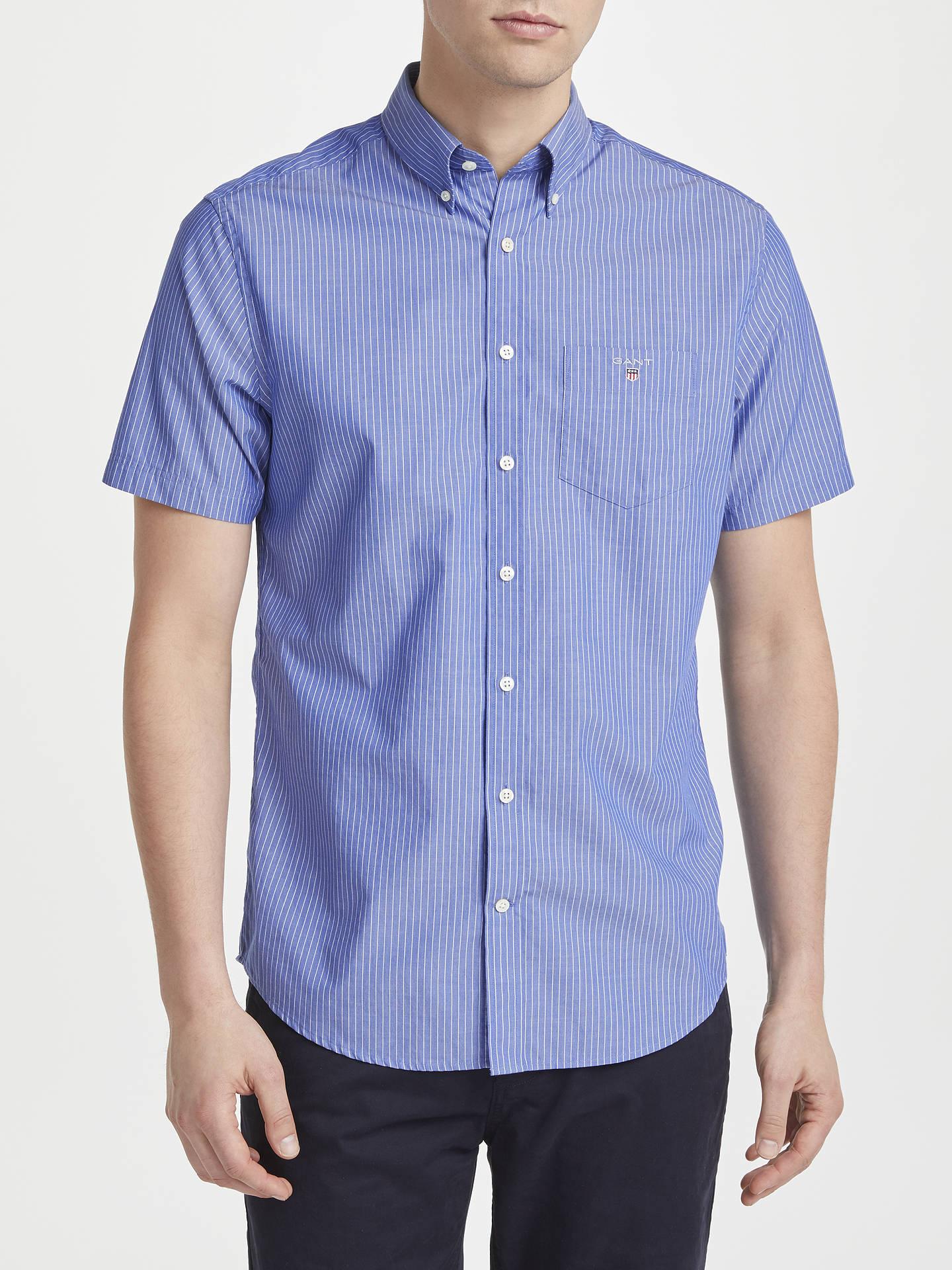 6b5d4334ed Buy Gant Poplin Short Sleeve Pinstripe Poplin Shirt, Yale Blue, S Online at  johnlewis ...
