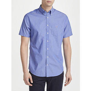 Gant Poplin Short Sleeve Pinstripe Poplin Shirt, Yale Blue