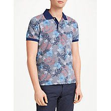 Buy GANT Floral Contrasting Collar Short Sleeve Polo Shirt, Navy Online at johnlewis.com
