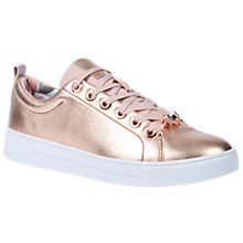 Buy Ted Baker Kellei Lace Up Trainers, Rose Gold Leather Online at johnlewis.com