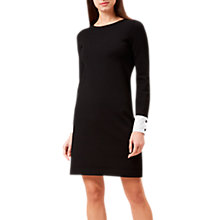Buy Hobbs Cecilia Flared Button Cuff Dress, Black/White Online at johnlewis.com