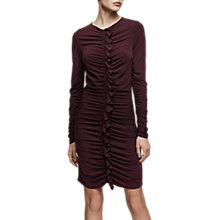 Buy Reiss Harriet Bordeaux Long Sleeve Ruffle Dress, Red Online at johnlewis.com