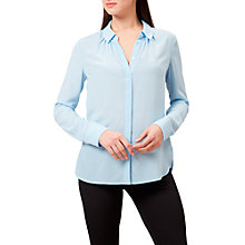 Buy Hobbs Calla Silk Shirt, Pale Blue Online at johnlewis.com