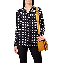 Buy Hobbs Calla Spot Print Silk Shirt, Navy/Ivory Online at johnlewis.com