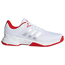 Buy adidas Barricade 3.0 Men's Tennis Court Shoes, White/Red Online at johnlewis.com