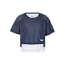 Buy Converse Girls' Double Mesh Layer Raglan Top, Navy Online at johnlewis.com