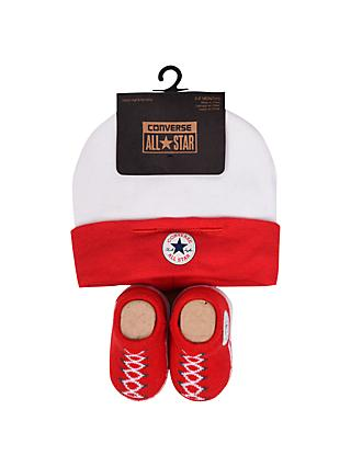 Converse Baby Booties And Hat Set, Pack of 2, Red
