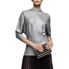 Buy Reiss Gale Metallic Jersey Top, Silver Online at johnlewis.com