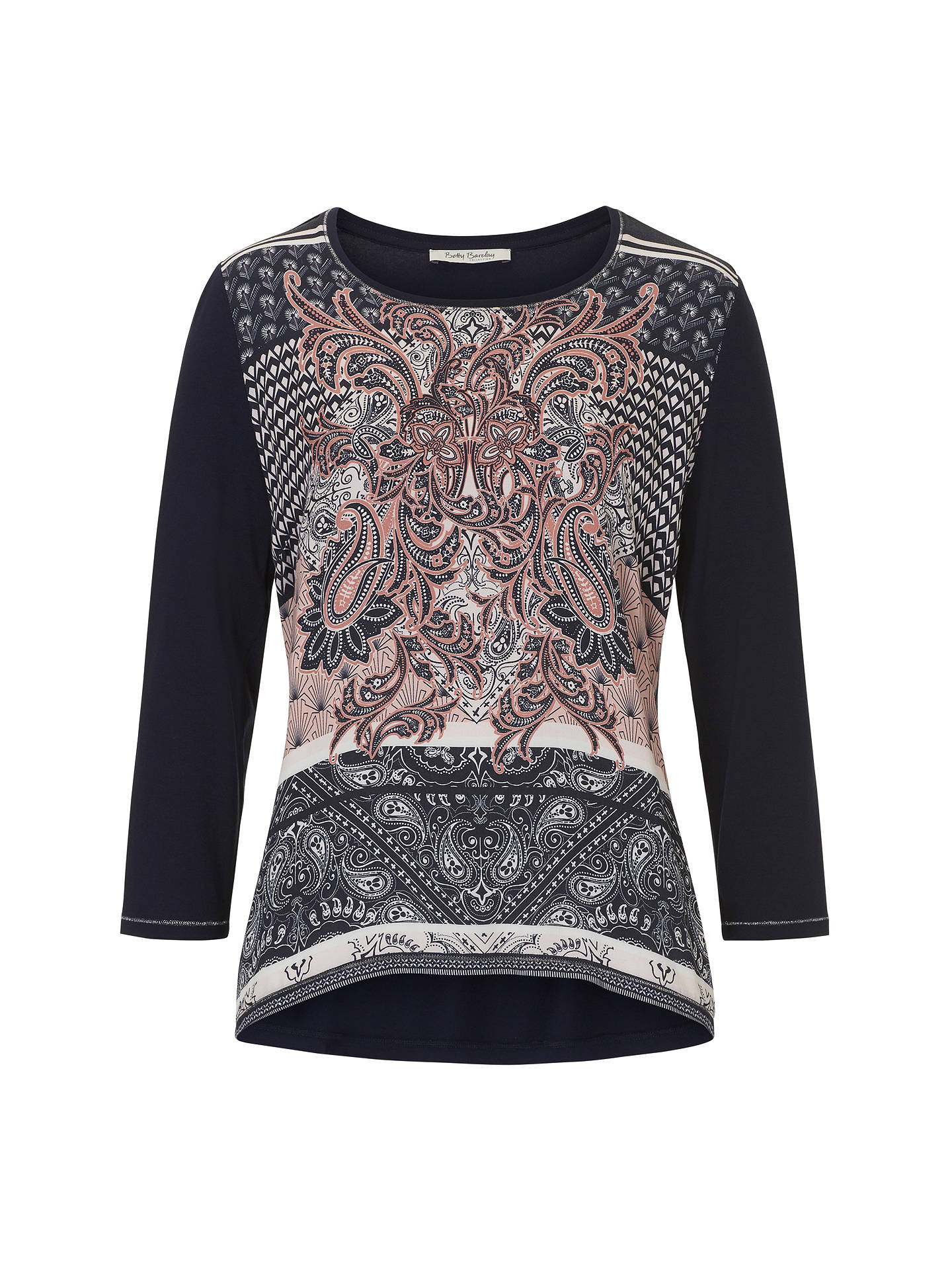 BuyBetty Barclay Paisley Print Top, Dark Blue/Rose, 12 Online at johnlewis.com