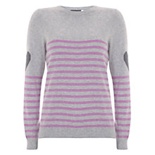 Buy Mint Velvet Stripe and Heart Motif Jumper, Grey/Lilac Online at johnlewis.com