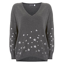 Buy Mint Velvet Foil Star Cocoon Jumper, Granite Online at johnlewis.com