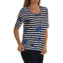 Buy Betty Barclay Floral Stripe Print Top, Dark Blue/Cream Online at johnlewis.com