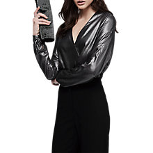 Buy Reiss Maja V-Neck Metallic Top Online at johnlewis.com