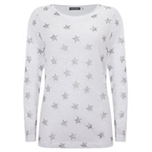 Buy Mint Velvet Metallic Star T-Shirt, Ivory Online at johnlewis.com