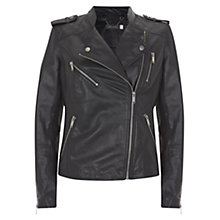 Buy Mint Velvet Leather Collarless Jacket, Navy Online at johnlewis.com