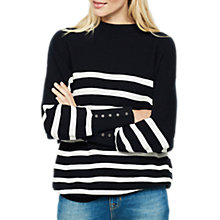 Buy Mint Velvet Stripe Funnel Neck Jumper, Navy/White Online at johnlewis.com