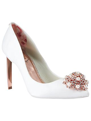 Ted Baker Tch 2 Embellished Stiletto Heel Court Shoes Ivory Satin