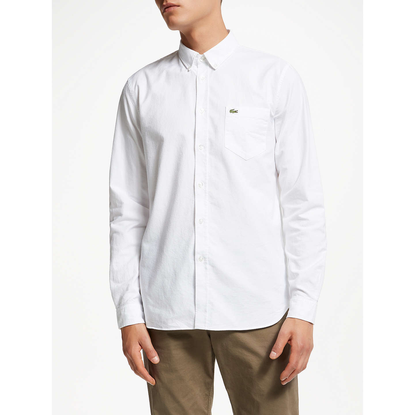 BuyLacoste Long Sleeve Oxford Shirt, White, S Online at johnlewis.com ...
