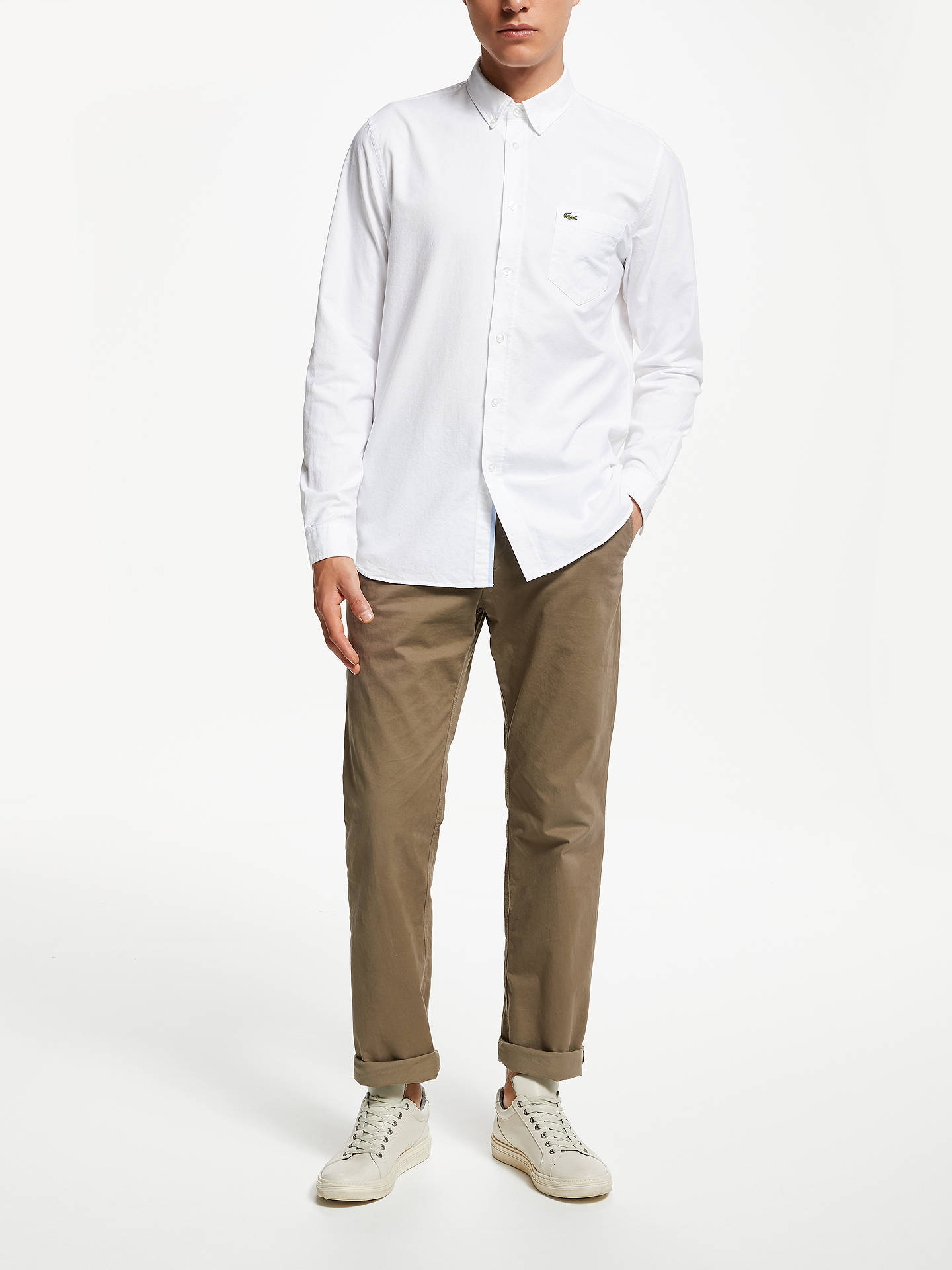 c8ad0b70 ... Buy Lacoste Long Sleeve Oxford Shirt, White, S Online at johnlewis.com  ...