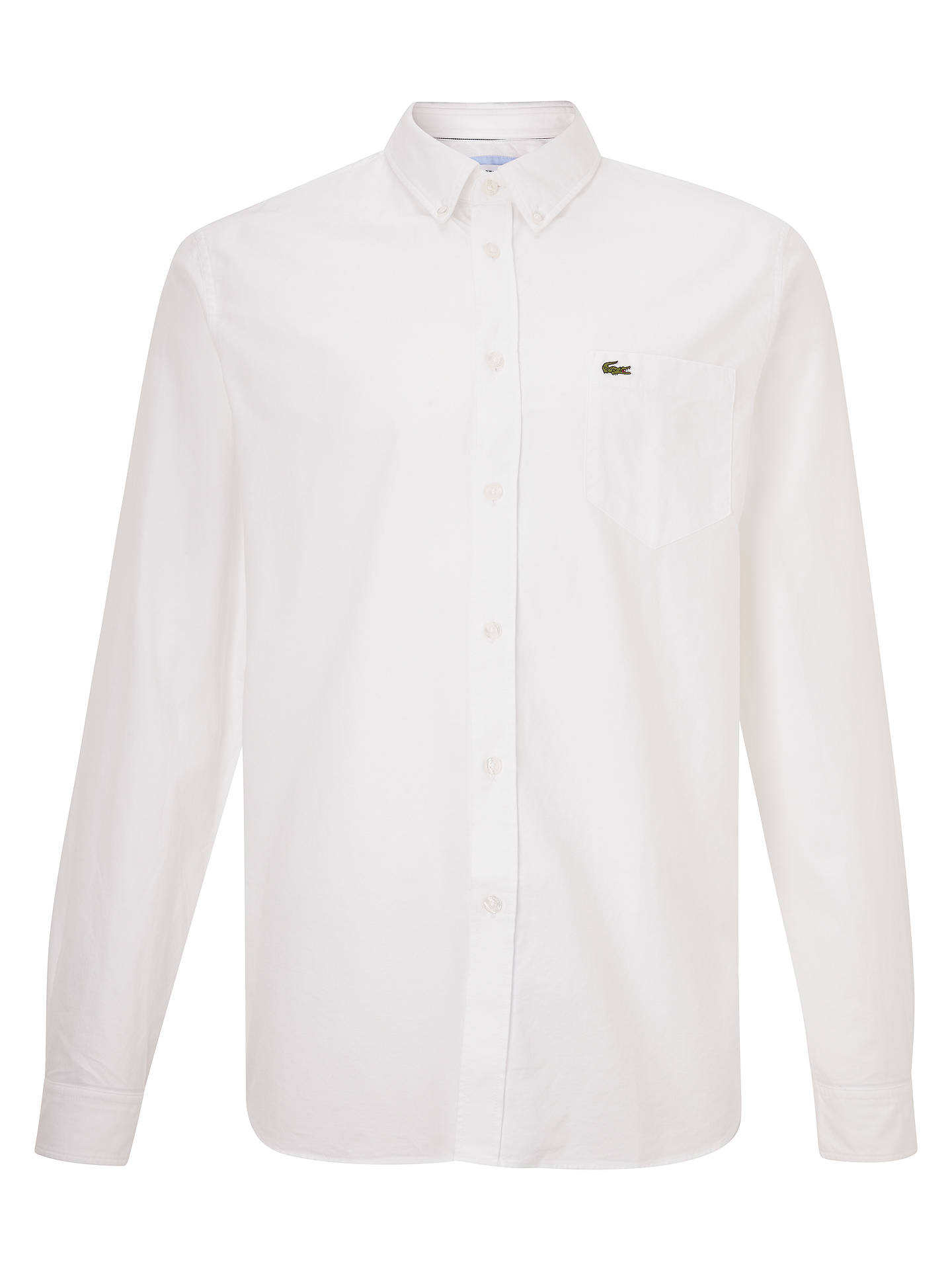229034d0ce Lacoste Long Sleeve Oxford Shirt, White at John Lewis & Partners