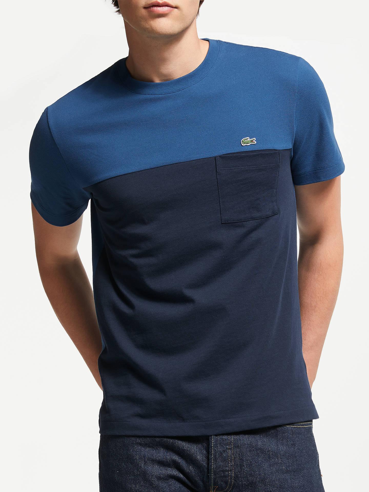 b53199f7 Buy Lacoste Short Sleeve Colour Block T-Shirt, Blue/Black, S Online ...