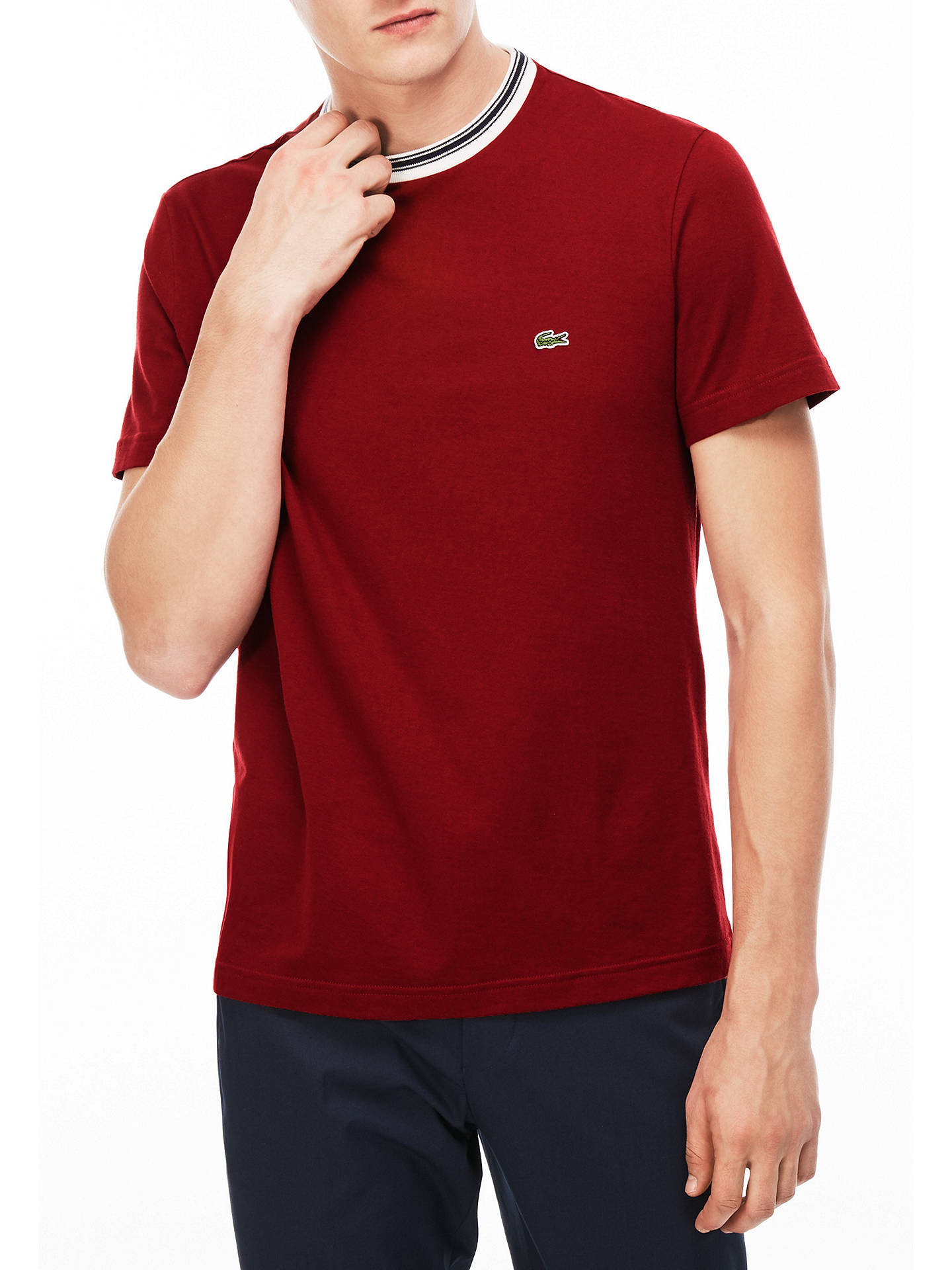 bb94cfcb Buy Lacoste Twin Tipped Crew Neck T-Shirt, Red, S Online at johnlewis ...