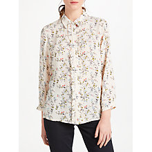 Buy Essentiel Antwerp Pia Ruffle Floral Print Blouse, Floral White/Blue Online at johnlewis.com
