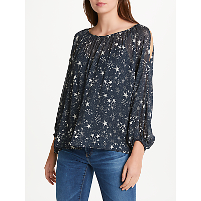 Velvet by Graham & Spencer Naveen Split Shoulder Top, Star Print