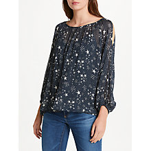 Buy Velvet by Graham & Spencer Naveen Split Shoulder Top, Star Print Online at johnlewis.com