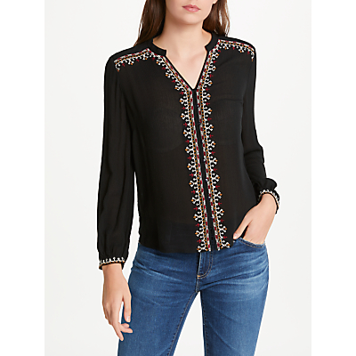 Velvet by Graham & Spencer Remi Long Sleeve Embroidered Top, Black