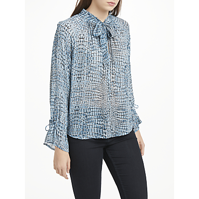 Pyrus Anais Tie Neck Abstract Print Blouse, Blue