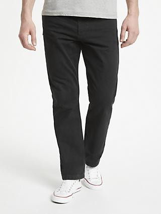 John Lewis & Partners Straight Fit Black Denim Jeans, Rinse Wash