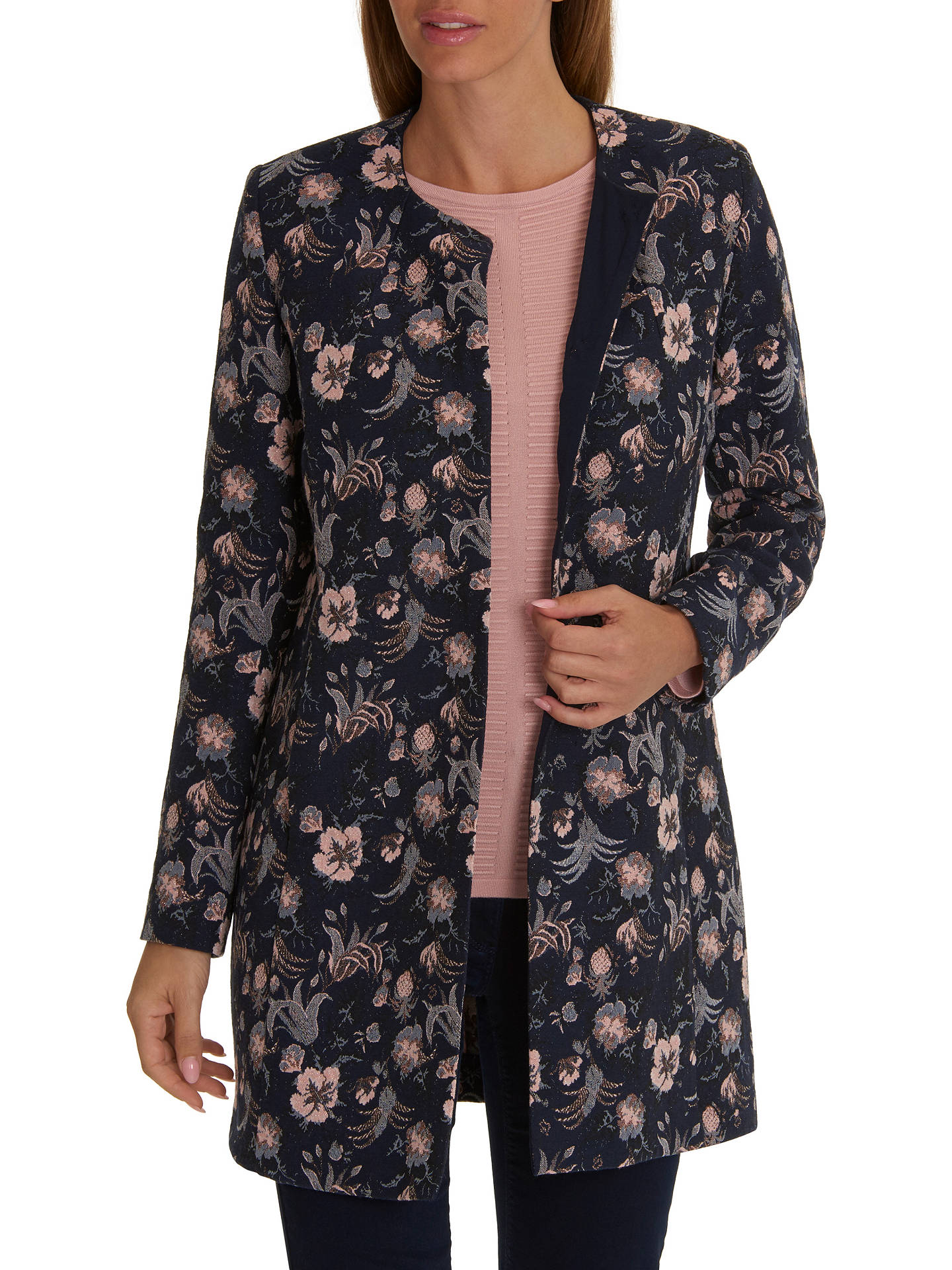 Buy Betty Barclay Floral Jacket, Dark Blue/Rose, 10 Online at johnlewis.com