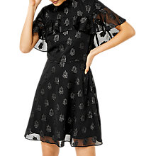 Buy Warehouse Clipped Jacquard Dress, Black Online at johnlewis.com