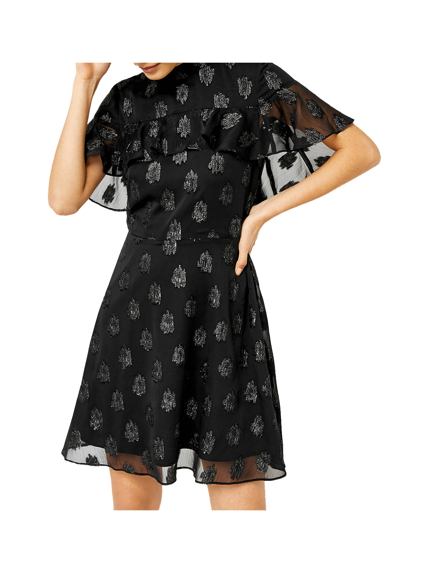 BuyWarehouse Clipped Jacquard Dress, Black, 6 Online at johnlewis.com