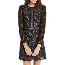 Buy Oasis Lace Long Sleeve Dress, Black Online at johnlewis.com