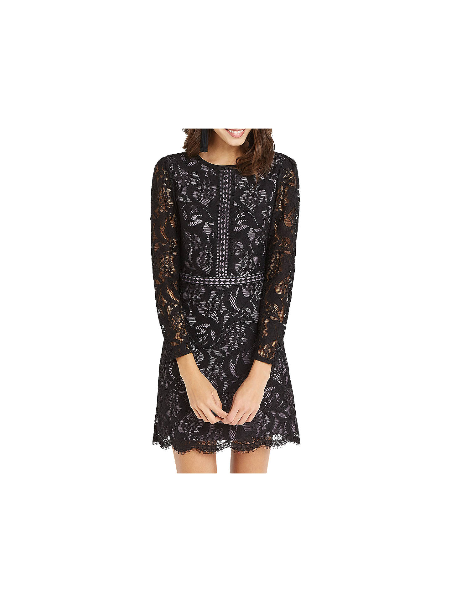 d0dc9cc90df6 Buy Oasis Lace Long Sleeve Dress, Black, 6 Online at johnlewis.com ...