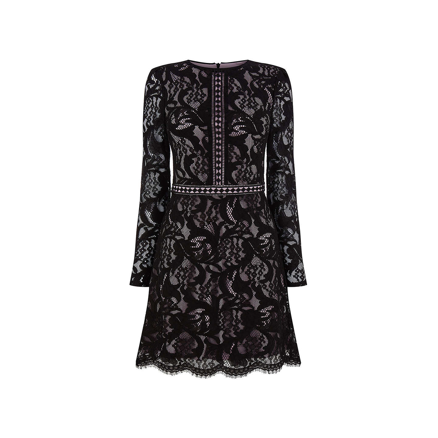 BuyOasis Lace Long Sleeve Dress, Black, 6 Online at johnlewis.com