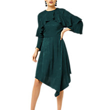 Buy Warehouse Soft Jacquard Asymmetric Hem Dress, Dark Green Online at johnlewis.com