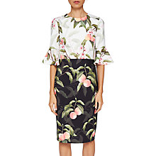 Buy Ted Baker Areea Ruffle Cuffs Peach Blossom Print Dress, Black/White Online at johnlewis.com