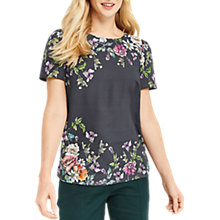 Buy Oasis Adria Floral Placement T-Shirt, Dark Grey Online at johnlewis.com